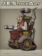 JEStockArt - Steampunk - Wild West Crazy Inventor In Wheelchair - CNB