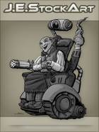 JEStockArt - Steampunk - Wild West Crazy Inventor In Wheelchair - GNB