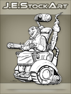 JEStockArt - Steampunk - Wild West Crazy Inventor In Wheelchair - LNB
