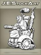 JEStockArt - Steampunk - Wild West Crazy Inventor In Wheelchair - LNB