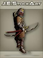 JEStockArt - History - Samurai In Sengoku Armor With Bow - CNB