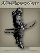 JEStockArt - History - Samurai In Sengoku Armor With Bow - GNB