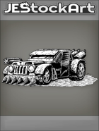 JEStockArt - PostA - Rugged Battle Car With Rotating Gun - INB