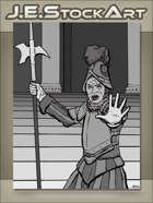 JEStockArt - Fantasy - French Guard Halting With Hand Raised - GWB