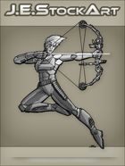 JEStockArt - SciFi - Archer With High Tech Bow And Laser Arrow - GNB