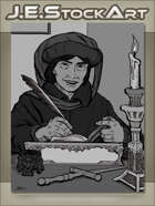 JEStockArt - Fantasy - Scholar With Book And Quill By Candle - GWB