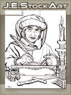 JEStockArt - Fantasy - Scholar With Book And Quill By Candle - LWB
