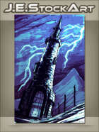 JEStockArt - Fantasy - Blue Sketchy Wizards Tower In Storm - CWB