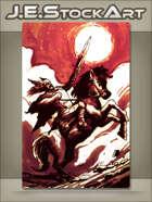 JEStockArt - Fantasy - Sketchy Knight On Horse For OSR Homage - CWB