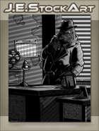 JEStockArt - Supernatural - Pulp Noir Gorilla Detective In Office - GWB