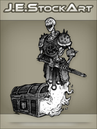 JEStockArt - Fantasy - Undead Skeletal Guardian Protecting A Locked Chest - GNB