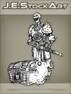 JEStockArt - Fantasy - Undead Skeletal Guardian Protecting A Locked Chest - INB