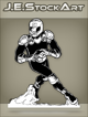 JEStockArt - SciFi - Future Athlete With Rocket Boots And Ball - INB