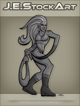 JEStockArt - Supers - Elastic Heroine With Noose Arm - GNB