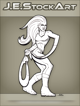 JEStockArt - Supers - Elastic Heroine With Noose Arm - LNB