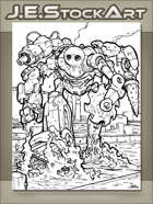 JEStockArt - SciFi - Leviathan Mechanical Monster Wading Thru River - IWB