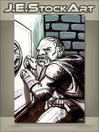 JEStockArt - Fantasy - Sketchy Dwarven Rogue Cracking A Safe - GWB