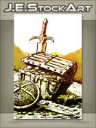 JEStockArt - Fantasy - Sketchy Treasure Chest In Hoard Of Gold - GWB