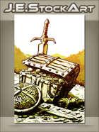 JEStockArt - Fantasy - Sketchy Treasure Chest In Hoard Of Gold - GWB
