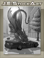 JEStockArt - Modern Fantasy - Flying Dragon Crushes Car - GWB