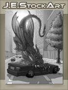 JEStockArt - Modern Fantasy - Flying Dragon Crushes Car - GWB