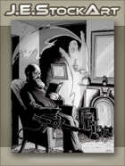 JEStockArt - Supernatural - Elder Ghost Hunter in Parlor With Trapping Contraption - GWB