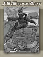 JEStockArt - Steampunk - Female Titan Pilot Jumps Into Giant Diesel Mech - GWB