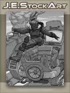JEStockArt - Steampunk - Female Titan Pilot Jumps Into Giant Diesel Mech - GWB