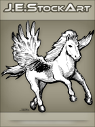 JEStockArt - Fantasy - Pegasus With Outstretched Wings And Fluffy Mane - LNB