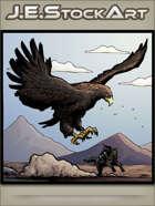 JEStockArt - Fantasy - Giant Bird Chasing Knight On Horse - CWB