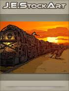 JEStockArt - Western - Locomotive Train And Cowboy On Horse Showdown At Sunset - CWB