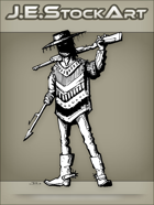 JEStockArt - Western - Hispanic Gunfighter In Poncho With Harpoon Hand - INB
