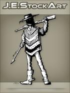 JEStockArt - Western - Hispanic Gunfighter In Poncho With Harpoon Hand - INB