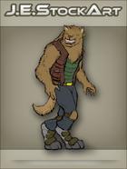 JEStockArt - SciFi - Vargr Wolf With Earring In Scout Jacket - CNB