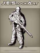 JEStockArt - History - Standing Sniper In Camo Suit - INB