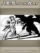 JEStockArt - Supernatural - Modern Mage Of Cthulhu In Dark Alley - IWB