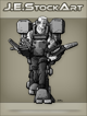 JEStockArt - SciFi - Older Fit Man In Exoskeleton With Dual Vises - GNB