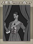 JEStockArt - Steampunk - Maiden With Clockwork Tattoo Closing Curtains - GWB