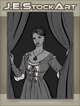 JEStockArt - Steampunk - Maiden With Clockwork Tattoo Closing Curtains - GWB