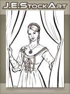 JEStockArt - Steampunk - Maiden With Clockwork Tattoo Closing Curtains - LWB