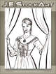 JEStockArt - Steampunk - Maiden With Clockwork Tattoo Closing Curtains - LWB