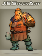 JEStockArt - Fantasy - Bald Blacksmith With Glowing Ring and Goggles - CNB