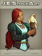 JEStockArt - Fantasy - Female Falconer with Dark Skin - CNB