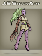 JEStockArt - Supers - Floating Plant Powered Heroine With Claws and Mask - CNB