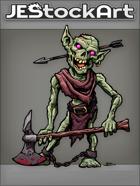 JEStockArt - Fantasy - Rotting Goblin Zombie With Axe And Arrow Thru Head - CNB