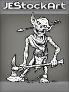 JEStockArt - Fantasy - Rotting Goblin Zombie With Axe And Arrow Thru Head - INB