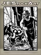JEStockArt - Supernatural - Gentleman In Hat Running From Horror In Alley - IWB