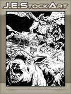 JEStockArt - Fantasy - Hybrid Sheep Dragon Terrorizes Farmstead - IWB