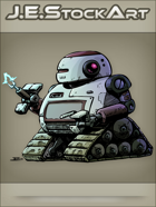 JEStockArt - SciFi - Mech Droid With Internal Weapon And Treads - CNB