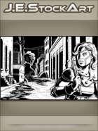 JEStockArt - Supers - Heroine Trailed By Ninjas In Alley - IWB